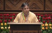 Luis Arce escucha en la testera las observaciones de parte de diputados de oposición.